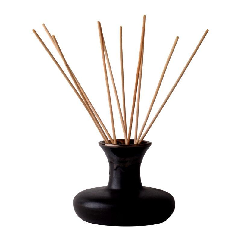 Body-Spa-essential-oil-reed-diffuser-and-ceramic-black-pumpkin-pot-in-black-mesh