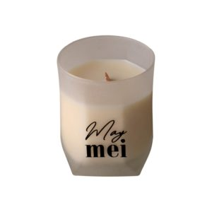 May mei wood wick soy wax candle in stitched bag